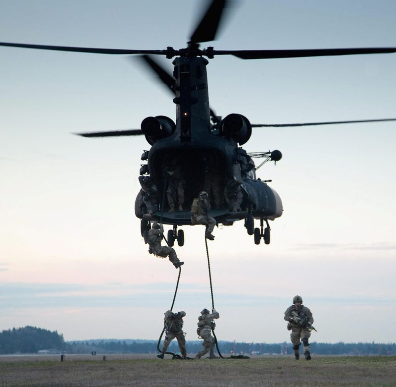 Army Rangers practice fast rope insertion and extraction. The Special Operations Command budget for the next year is $7.7 billion, representing a 10 percent increase. The command is taking steps to head off a severe readiness dip in its far-flung troops. (U.S. Army)