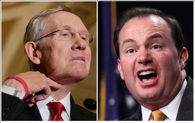 Senate Majority Leader Harry Reid of Nev., Sen. Mike Lee (R-Utah)