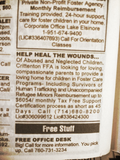 "(Weasel Zippers)  -- Note the change in terminology, the law refers to ""unaccompanied alien children"" or UAC. But the ad says ""Unaccompanied Refugee Minors"". Refugee is a legal status which grants ability to stay. Previously one had to apply and be evaluated to determine if one fit that status. Now it is simply assumed in the very name, without any individual evaluation.  None of the ""children"" concerned in the ad are under 12. Gee I wonder who is paying this vast sum? Guess what? The taxpayer, since the government is the one cutting the check for all of this."