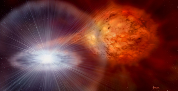 """The stellar surface turns into one titanic hydrogen bomb throwing a fireball out into space"""