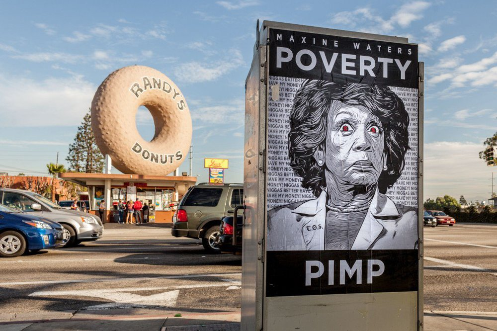 Maxine-Waters-Poverty-Pimp-Poster-in-front-of-Iconic-Randys-Donuts-02-1024x682.jpg