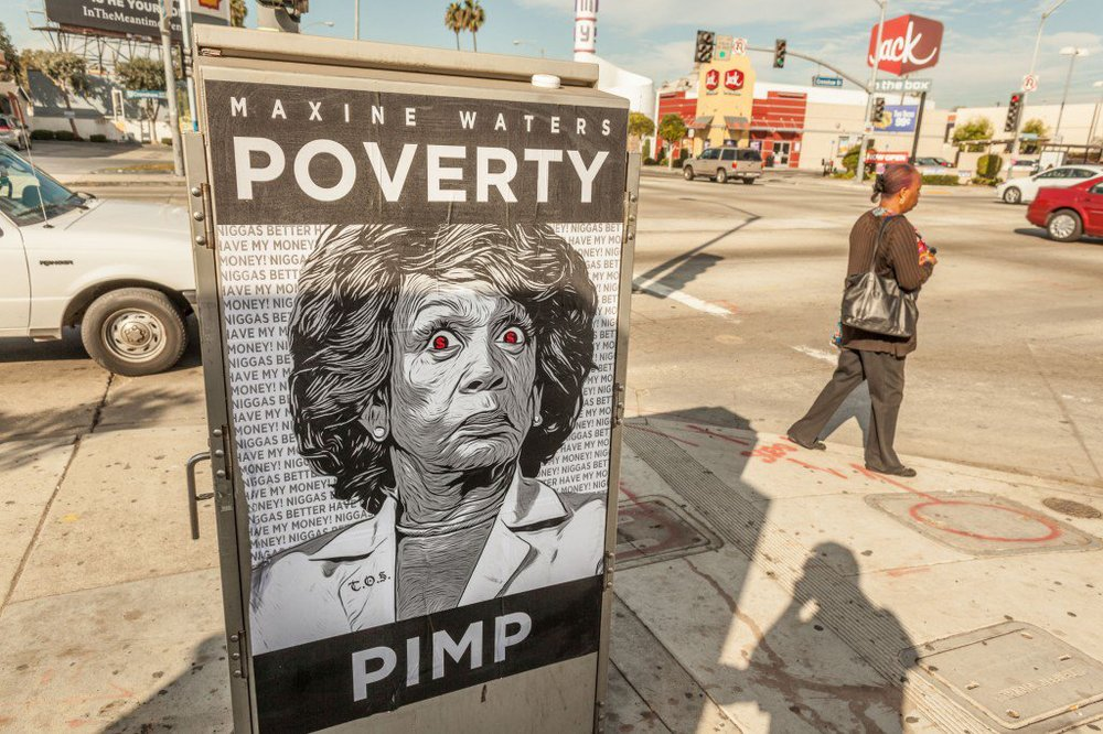 Maxine-Waters-Poverty-Pimp-Poster-in-the-Los-Angeles-Ghetto-02-1024x682.jpg