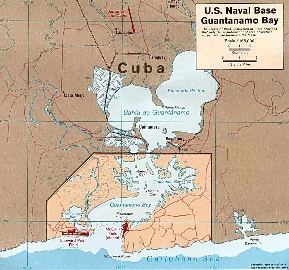 Guantanamo Bay Naval Base in Cuba (  Wikipedia  )