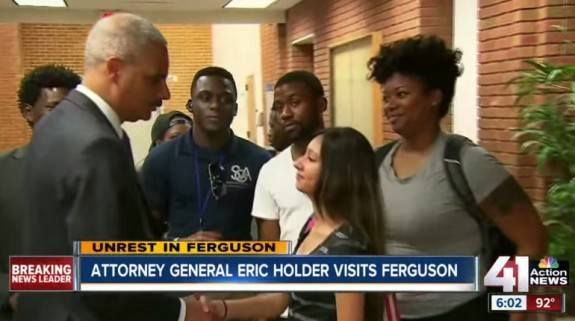Holder stirred up emotions in Ferguson, Missouri after 18 year-old robber Michael Brown was shot dead after beating a police officer.