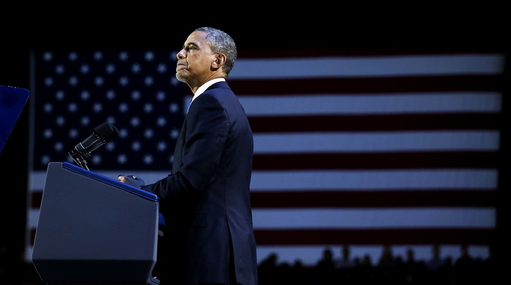 President Obama pauses during his speech. (Doug Mills/The New York Times)