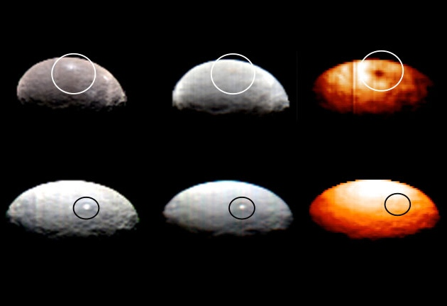 Infrared images suggest that Spot 1 (top row), an area on Ceres, is made of ice. But the pair of bright gleams known as Spot 5 were invisible to an infrared camera (bottom right).