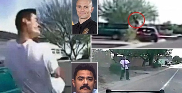 The following shocking footage out of Arizona was captured on police dashcams and shows suspect Mario Valencia walking down the street carrying a firearm