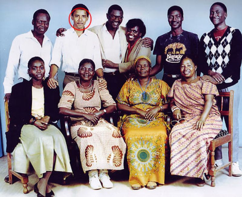 In this Obama Family photo are: (bottom row, from left) half-sister Auma, her mother Kezia Obama, Obama's step-grandmother Sarah Hussein Onyango Obama and unknown; (top row, from left) unknown, Barack Obama, half-brother Abongo (Roy) Obama, and three unknowns. (H/T Gateway Pundit)