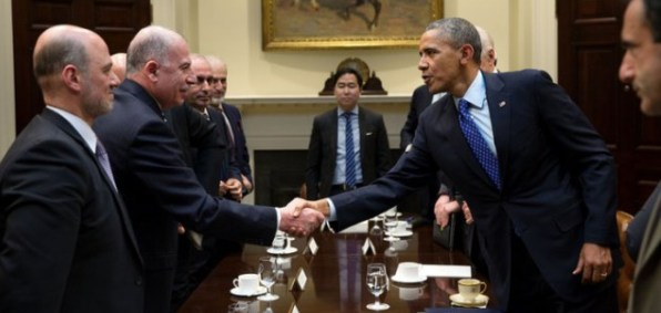 President Obama meets with Muslim Brotherhood lobbysit Anas Altikriti in the White House in Feb. 2014