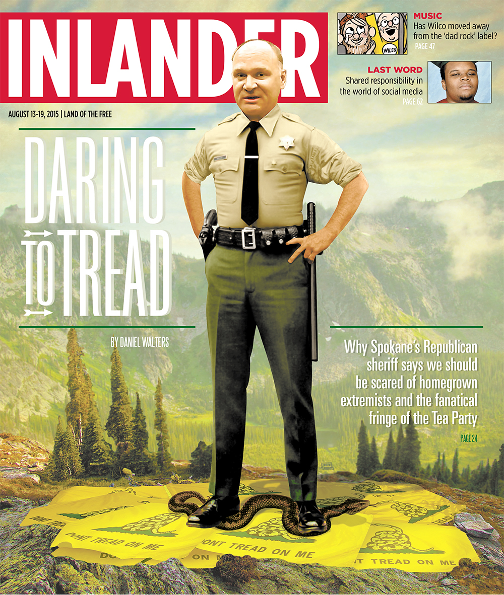 "Artist's rendition of Sheriff Knezovich standing on ""Don't Tread on Me"" flag in August issue of the  Inlander  (Note: Knezovich uninvolved in cover choice)"