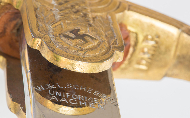 Close up detail of a 1940s WWII Nazi military dress sword