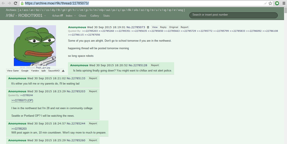 The 4chan post the Oregon college shooter made last night. It keeps getting deleted in the defaults so I think it should be posted here.