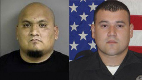"""Ruben """"Menace"""" Reyes (left) is charged with ordering the killing of slain Balcones Heights police officer Julian Pesina (right)."""