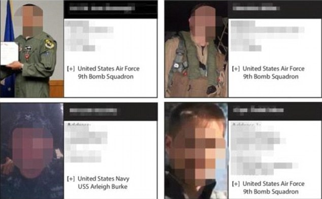 Law enforcement officials have been warned against accepting friend requests without first vetting them. Above, pictures of the soldiers identified by Islamic State earlier this year