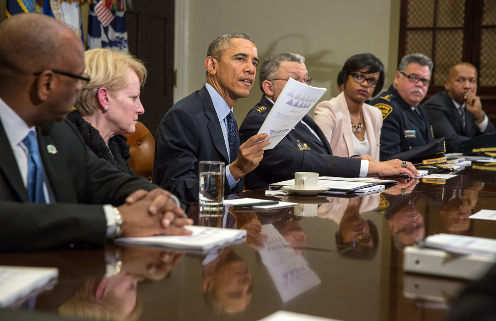 President Barack Obama delivers remarks to press pool after a meeting with members of the President's Task Force on 21st Century Policing in the Roosevelt Room of the White House, March 2, 2015. (Official White House by Chuck Kennedy)