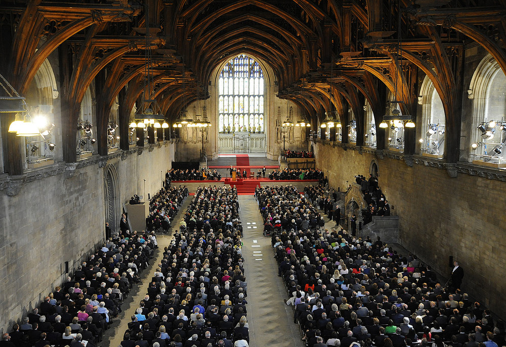 Barack Obama addressing both Houses of Parliament in Westminster Hall in 2011