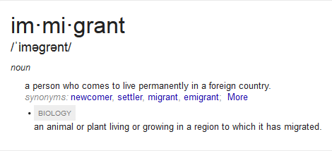 Google definition of immigrant.
