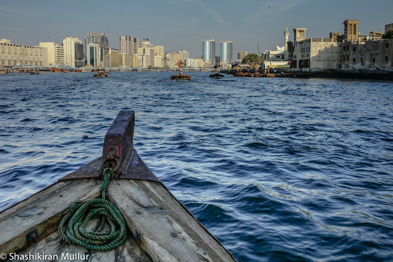 Skimming the Dubai Creek on an abra