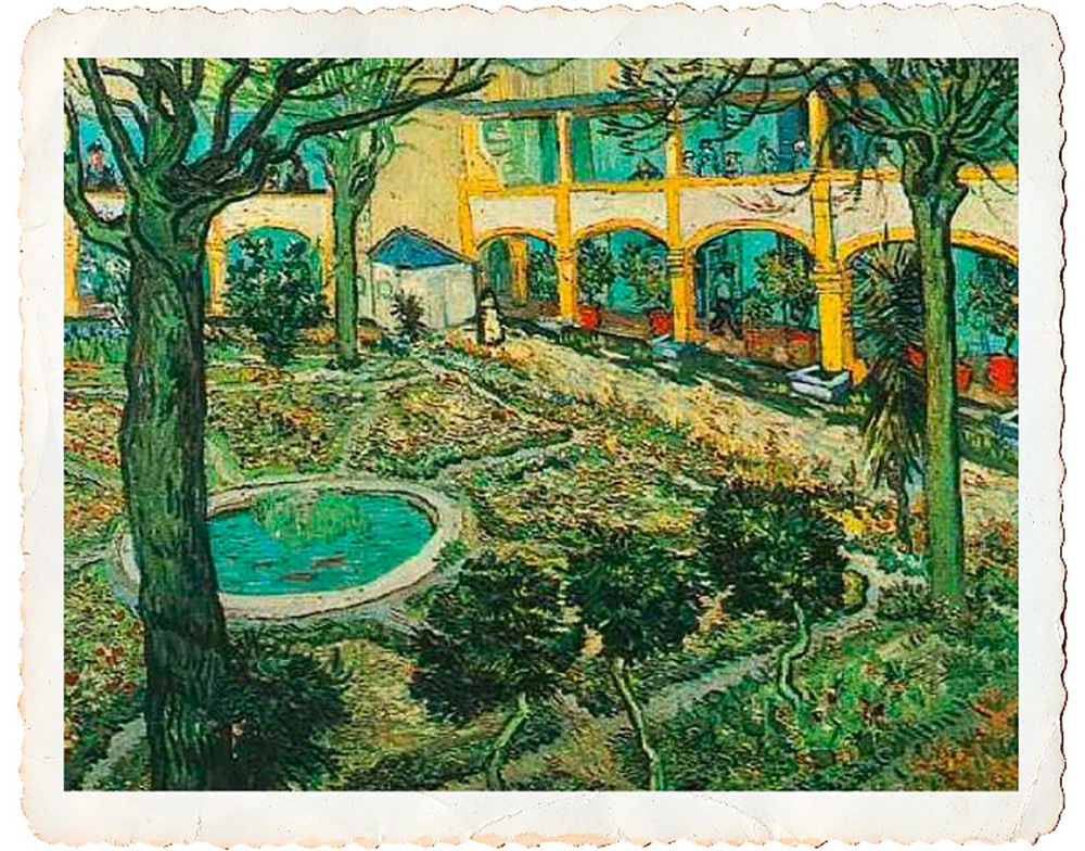 Vincent Van Gogh's Painting of the courtyard of the hospital at Arles