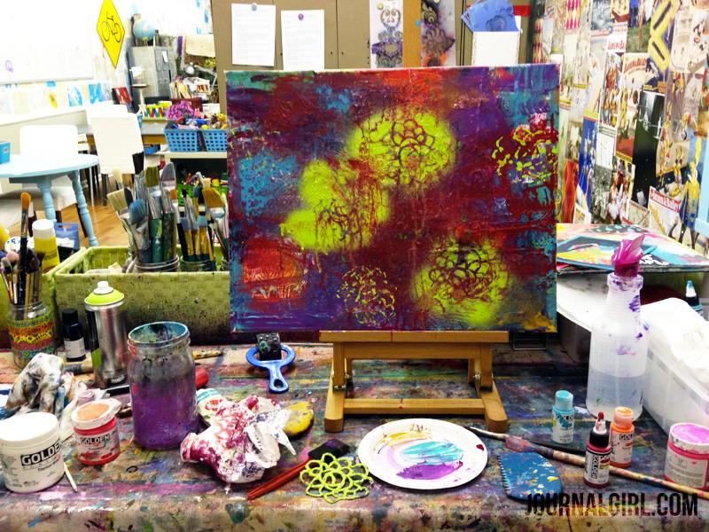 I had the most amazing time playing with this canvas...I just put on some high-energy songs and made a mess....let the music move my brush, did big marks, sprayed water, used spray paint (Liquitex, which is low oder and real acrylic!) & kept flipping it around!