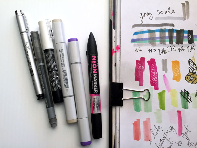 Supplies, left to right: Copic multiliner, Derwent Graphik pen, POSCA .7mm white paint pen, Copic markers, Letreset Neon Marker. Not pictured: Wink of Stella in white. Mmmm glitter pen....