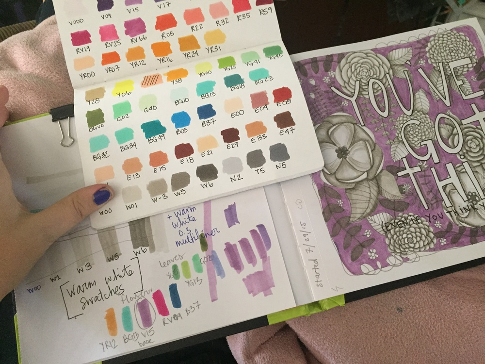 Once I get the shading done, I start picking out colors. Here I have my little hand made swatch book and all the tests to make sure the colors will get along. I'm finally beginning to understand the Copic numbering system and will write about it - actually, a video wod be easier!