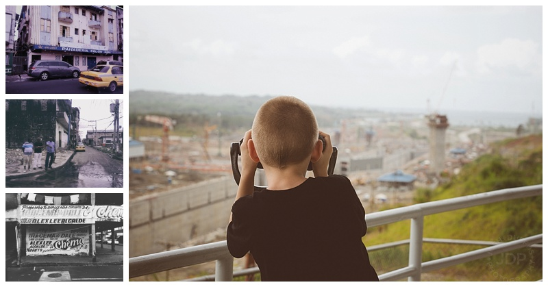 "My little guy checks out the Panama Canal expansion locks on the Atlantic side.  I started to explain that it wouldn't be using mitre gates like those of the other locks when he stopped me and said, ""I know dad, these are sliding, pocket gates.""  Wow, kid.  You DO listen.   