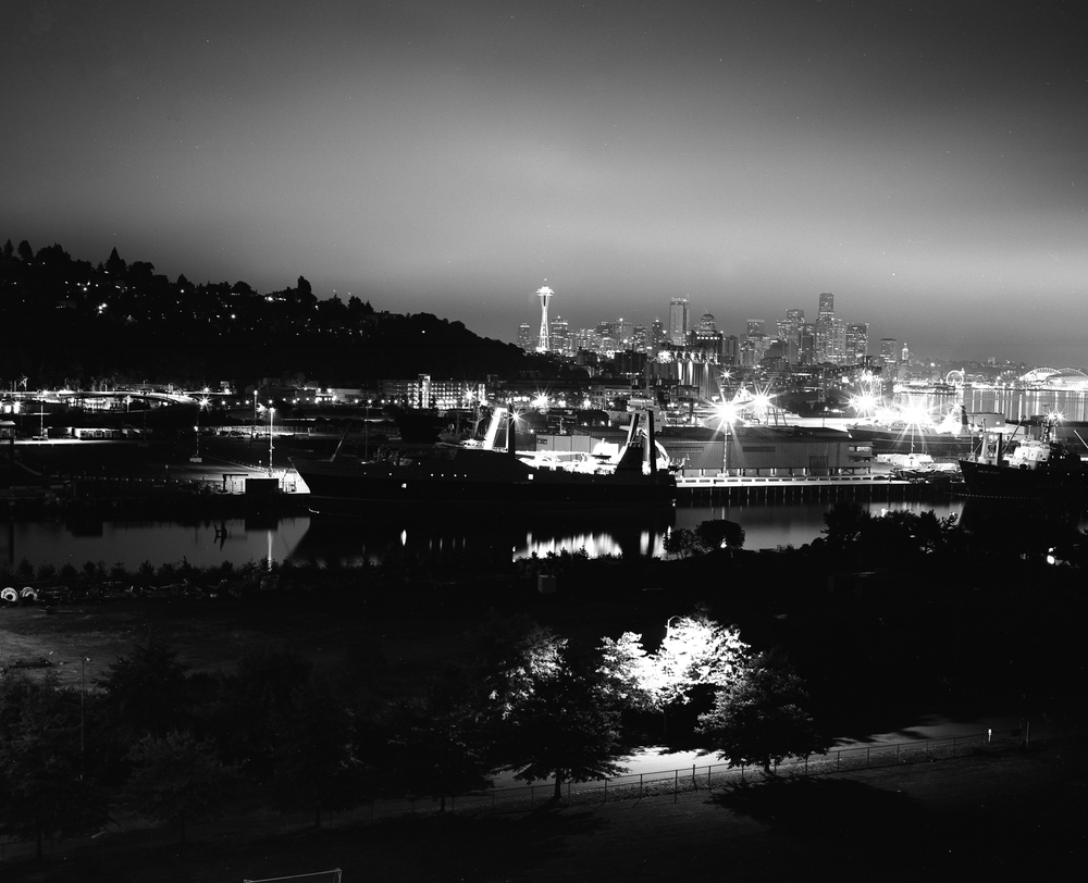 View of downtown Seattle from the top of the Magnolia Bridge. Image taken with Mamiya RB67 + Fujifilm Acros Neopan 100 and developed in Ilford Ilfosol 3.