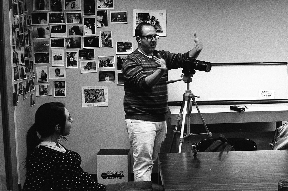 Chris creating video clips for a project he is doing for Youth In Focus. Kate Burnley mentored with me in the Beginning Black and White class. I really love the work she does in and out of the classroom. Check out her site. Image created with Leica M6 + Ilford HP5+.
