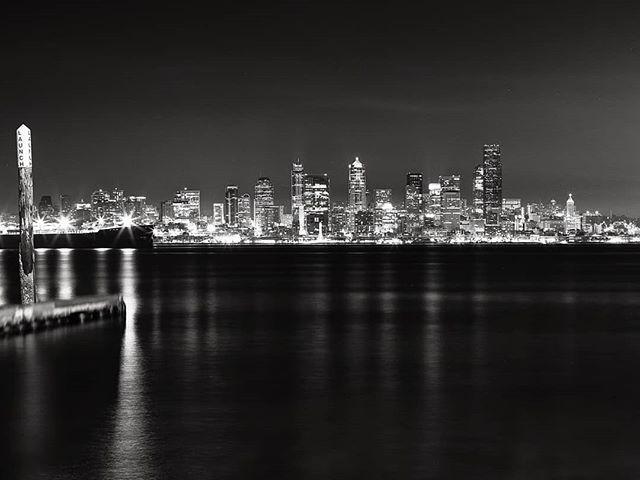 View of downtown #Seattle from Alki Beach.  #mamiya #MamiyaRB67 #fujifilm #acros100 #bw #film
