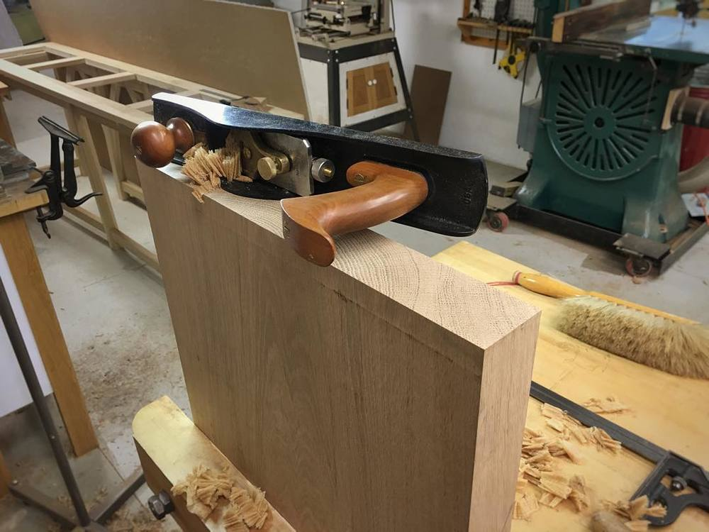 Squaring up one of the sides before cutting the tenons to match the mortises in the top. Also: stalling for time while I think of how to cut the tenons to match the mortises in the top. #letsmakeabench #notstallingatall