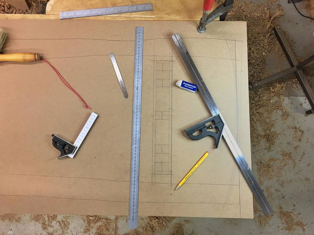 Full-scale joinery drawing. The top of the bench is a live-edge slab (hence the squirrelly horizontal lines), so this drawing will be the only way to lay out and reference joinery with any sort of precision. #letsmakeabench #makingthethingthatmakesthething