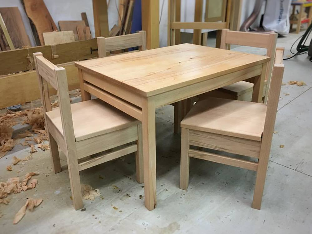 And done! Four tiny beech chairs with matching table! Perfect for breakfast/lunch/dinner/snacks/drawing with my favorite tiny person.  Tomorrow: oil is dry! Back to work! #tinytable #tinychairs #tinystuff #madeinhouston
