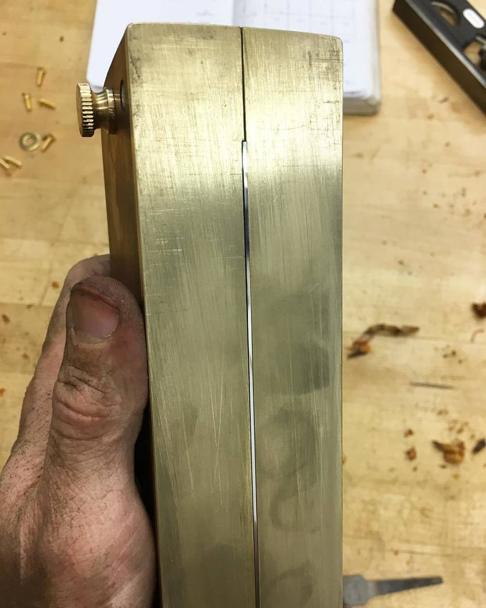 Very fancily-honed scraper edge. This just came off the 8000-grit stone. #makingthethingthatmakesthething #scrapersneedlovetoo #letsmakeawatchbox