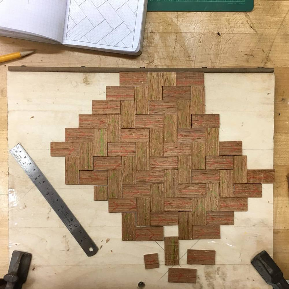 Further adventures in parquetry. I know that this has been done before, but it still seems like magic to me. #parquetry #herringbone