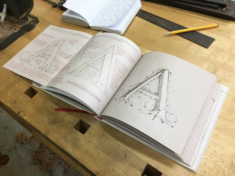 """Some quality afternoon inspiration- """"The Annotated Capital,"""" from the Cardozo Kindersley Workshop. What a lovely book. #lettercarving"""