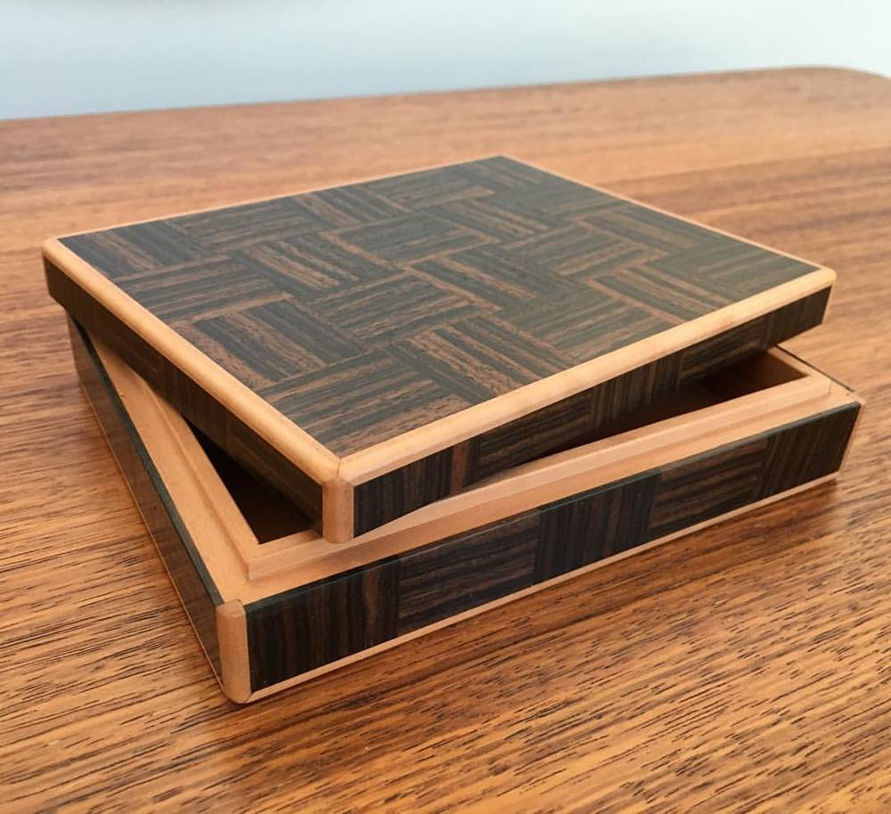 And done! Macassar Ebony and Steamed Pear, wax finish. This little box was sort of a proof of concept to sort out some technical issues for a larger, upcoming piece. I'm excited about how it turned out, but since it was an experiment, I don't feel all that comfortable about putting it up for sale. So! This box will instead go up for auction in the next five minutes or so, with all proceeds benefitting the Center for Hearing and Speech, a Houston-based non-profit organization dedicated to teaching children with hearing loss how to listen and speak without the use of sign language. Thanks for following everybody! Stay tuned! Good luck! #letsmakeabox #helpingkidshear #helptexashear #chs #thrillingannouncement
