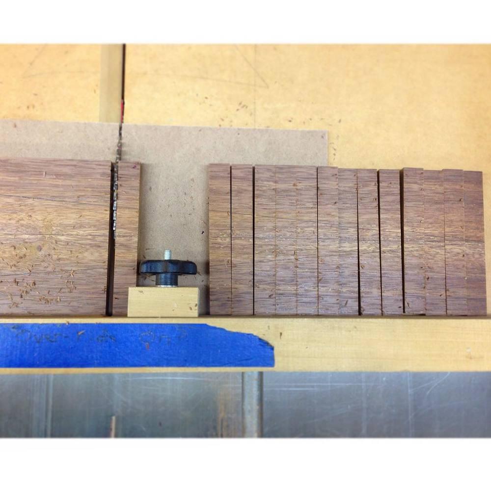 Crosscutting the edgebanding panel into short/wide strips… #letsbuildabreakfasttable