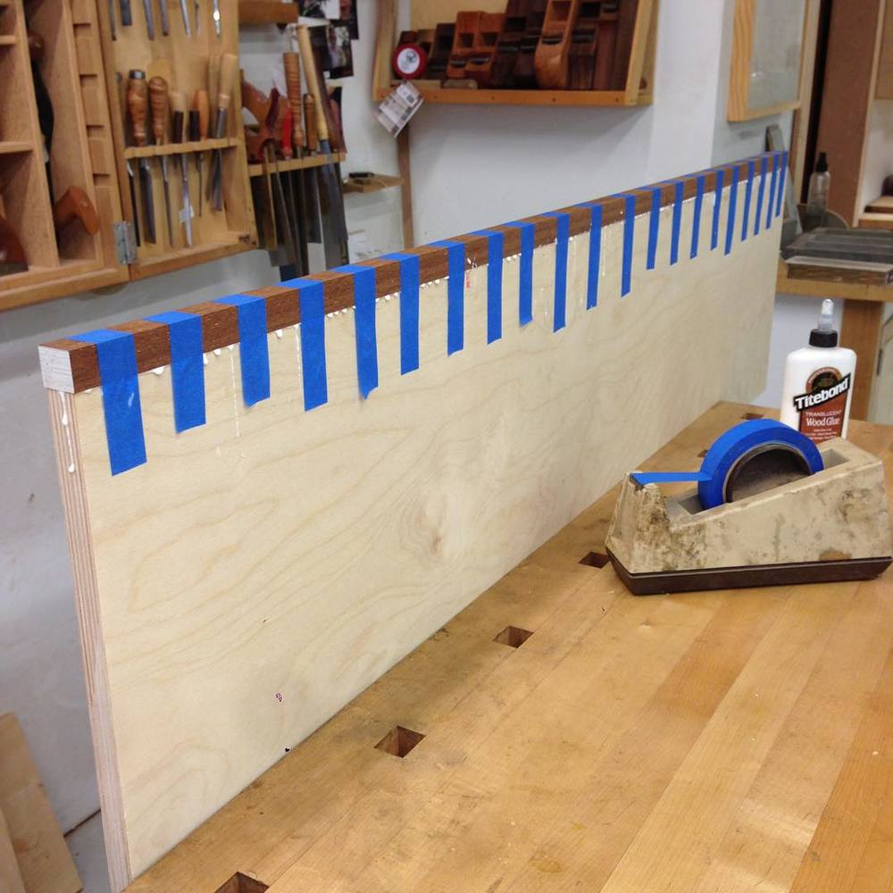 Captured edgebanding! This strip was taken from the same blank the veneers for the top and bottom will come out of, and will eventually be cut into the rule joint for one of the drop-leaves. #letsbuildabreakfasttable