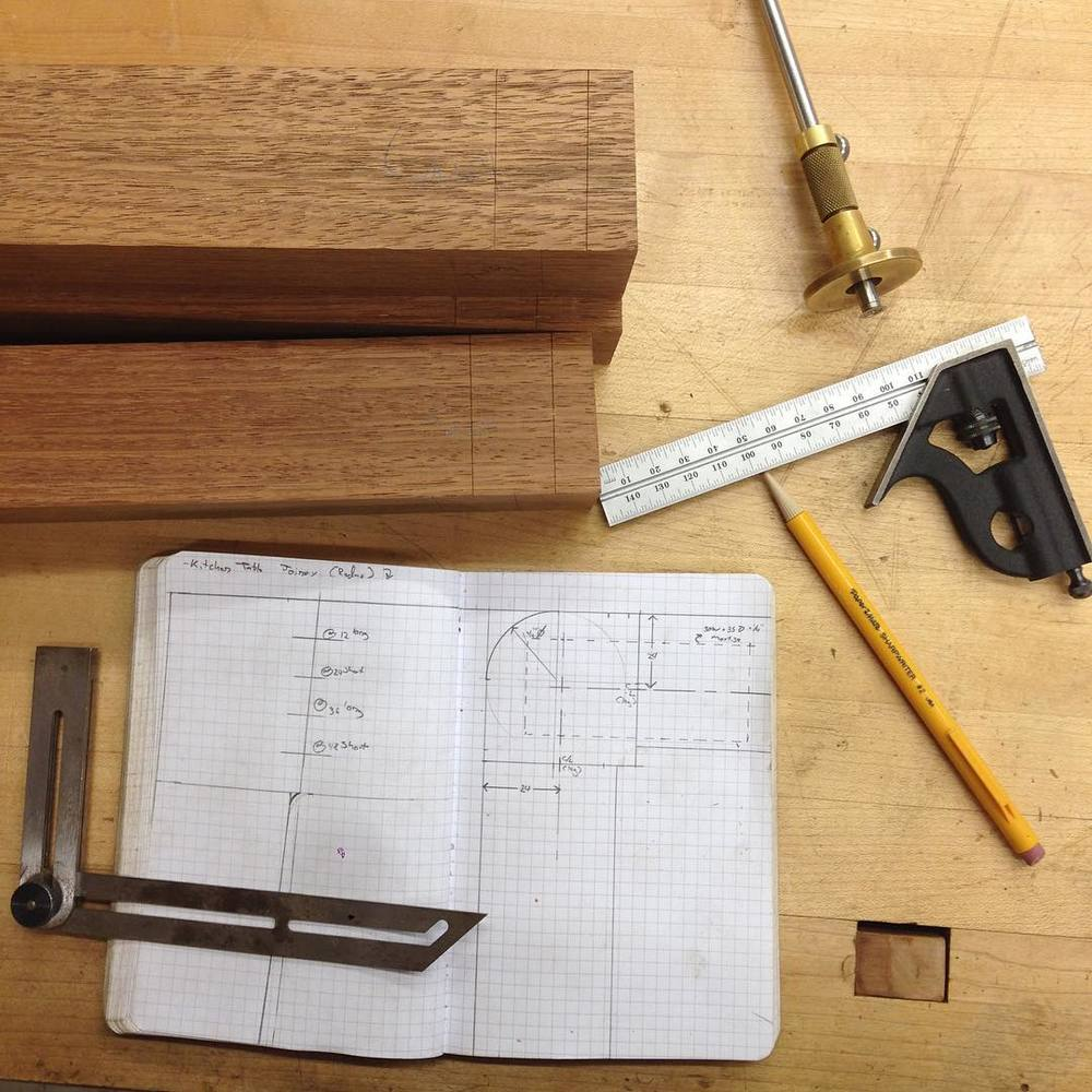 Fancy joinery planning. #letsbuildabreakfasttable #metric4life