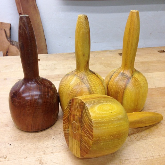 "And done!  Three carving mallets (four if you count mine, over there on the left)- 8-½"" long, 4"" diameter, 1.5 lbs (about 725 grams) each, all made from reclaimed, quartersawn Osage orange grown right here in Houston. One is spoken for, but the other two are still available.  I have been using mine for chopping dovetails and carving letters for about three years now, and aside from the oxidation, it still looks brand new. If you are interested in one, leave a message in in the comments or DM me. We'll figure it out. #carvingmallet #madeinhouston"