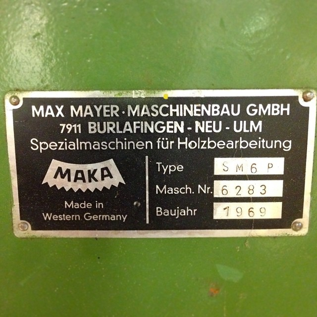 "Requisite badge picture. My German is a little rusty, but I'm pretty sure the description translates roughly to, ""Special Machine for Wooden Bearfighting."" #makamortiser #madeinwesterngermany"