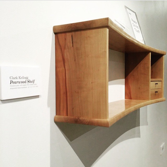 Regram from @sarah_marriage - my tiny pearwood shelf, on display at the American Tobacco Center as part of the @furnituresociety HOME exhibition in Durham, NC. I wish I could see the show in person! #fshome