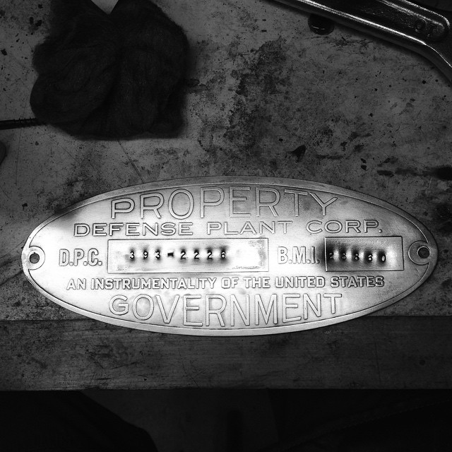 Cleaning up one of the copper badges. I nixed the black background in favor of a shiny monotone. Fun fact: the Defense Plant Corporation was created by the Feds in 1940, and was charged with drastically ramping up industrial production as part of the war effort. This saw was purchased through the DPC, and was installed in either the Douglas Aircraft plant in Santa Monica, CA, or the Basic Magnesium plant in Henderson, NV. #funfacts #Oliver217 #aninstrumentalityoftheunitedstatesgovernment