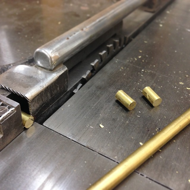 Cutting some brass rod to length for drawer pulls. #fshome #letsbuildacabinet