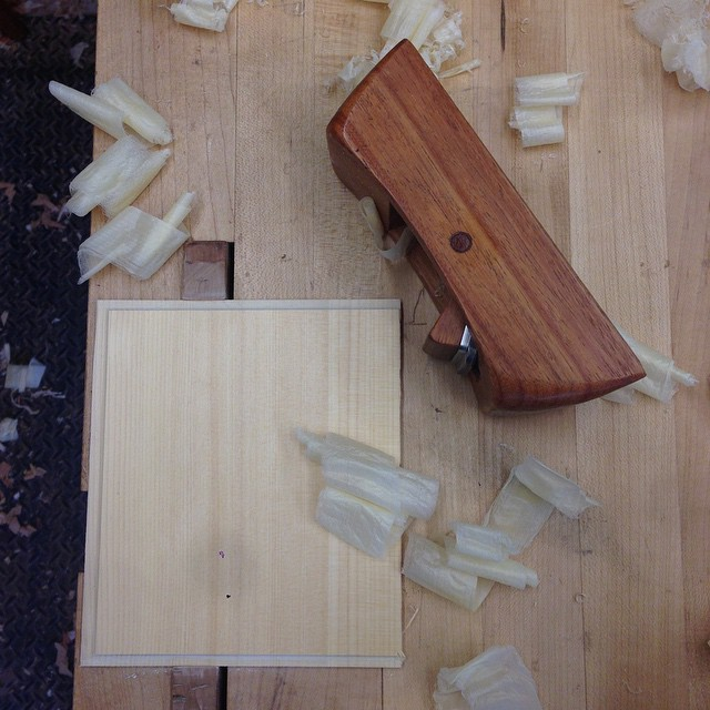 Planing one of the drawer bottoms. This Port Orford cedar planes like a dream. #fshome #letsbuildacabinet