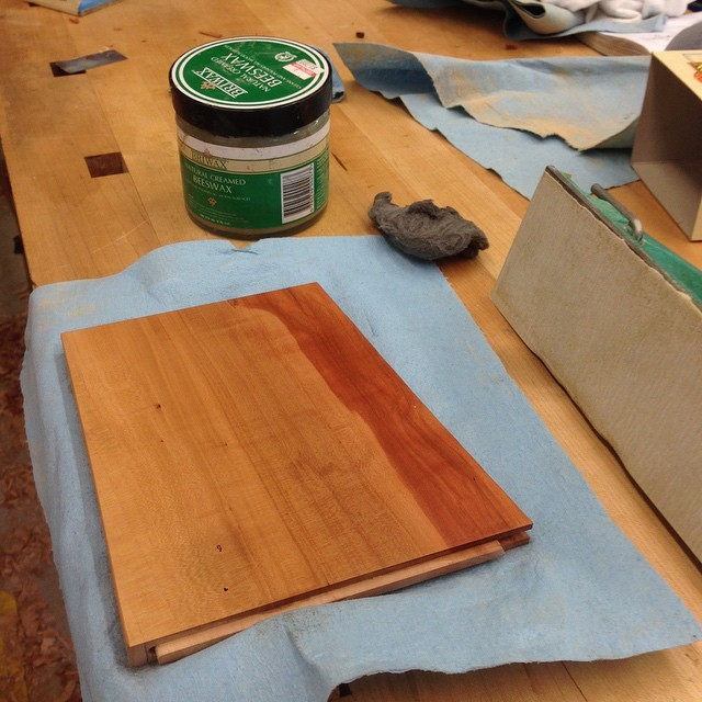 Extra-fancy (Danish) polishing setup: I cut back the shellac with worn-out 400-grit paper, followed by 0000 steel wool (which seems to blend everything into a nice, even matte), then apply paste wax and buff it out. I just love how this finish looks and feels when it is all said and done. #fshome