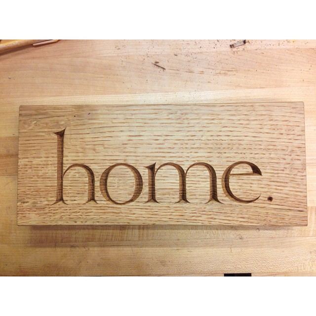 """Hey folks- a few weeks ago Brian, aka @bjmacwoodwork, aka @buildalongwithbrian, a fellow woodworker here on the Instagrams, had his shop smushed by a tree. The excellent @lesliewebbdesign has put together a fundraiser to help Brian out, and I am excited to say that this little """"Home"""" plaque is part of it.  So! If you are excited about this plaque and/or helping people out, go to  www.buildalongwithbrian.com  for your chance to win this and other fabulous prizes! What are you waiting for? Do it! #woodworkershelpingwoodworkers #lettercarving #fabulousprizes"""