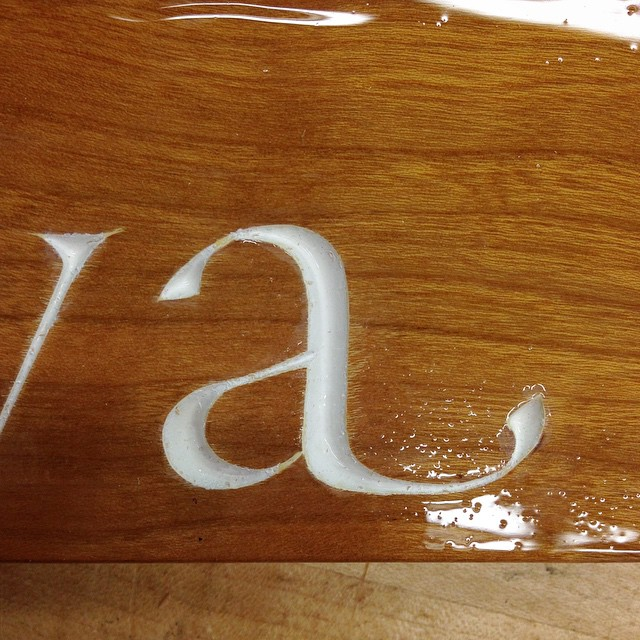 """I was really excited about the little swash on the """"a"""". #minerva #lettercarving"""