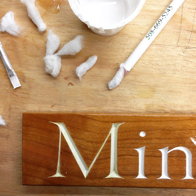Meanwhile…doing a last touch up to the nameplate for the Minerva. I'm excited to get this little guy installed. #minerva #lettercarving